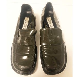 Sam & Libby Olive Green Patent Leather Loafers